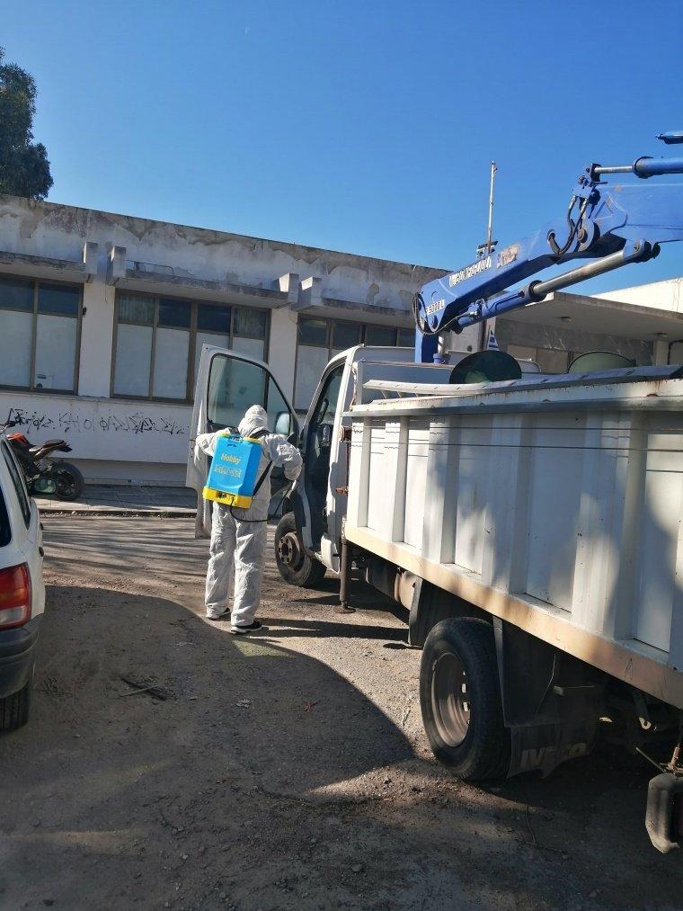 Προληπτική απολύμανση των οχημάτων και των μηχανημάτων του Δήμου Ρόδου